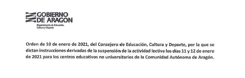 Suspensión de la actividad lectiva el 11 y 12 de enero